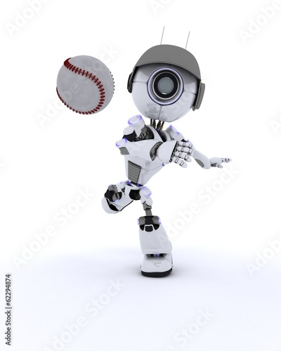 Robot playing baseball