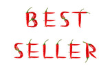Picture of the words BEST SELLER written with red chili peppers