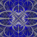 Symmetrical pattern of the leaves in blue and gray. Collection -