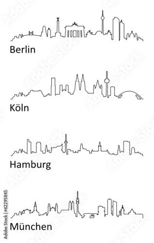 Skyline Berlin Köln Hamburg München