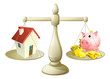 House or savings scale concept