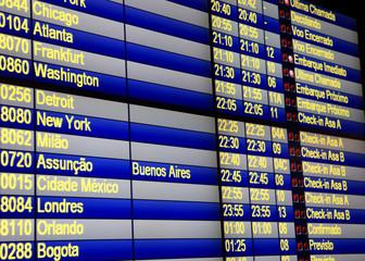 Close up shot of flight schedules