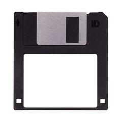 Schwarze Diskette isoliert auf weißem Hintergrund