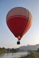 Balloon, mountains. Nam Xong river, Vang Vien, Laos