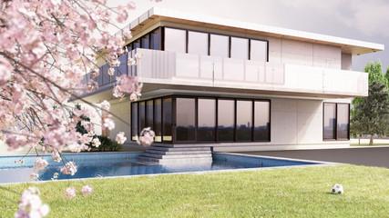 3D Haus mit blühendem Kirschbaum