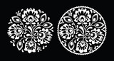 Folk embroidery with flowers - traditional polish pattern white