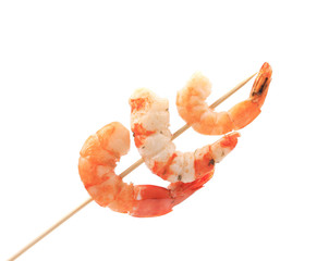 Grilled shrimps on a stick.