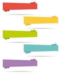 Flat design origami banners set.