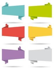 Flat design origami banners set II.