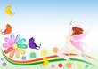Sfondo fatina farfalla e margherita arcobaleno