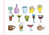 Drink beverage icons set