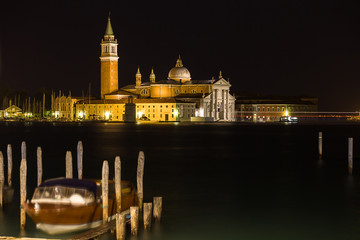 night view of San Giorgio island, Venice, Italy