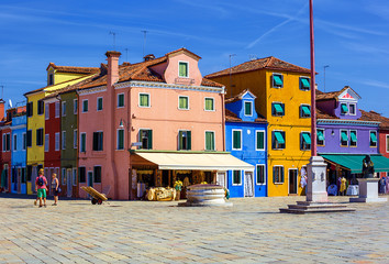 architecture of Burano island. Italy.