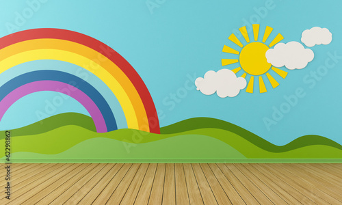 Empty Playroom with rainbow and green hills