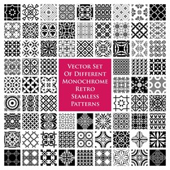Vector set of monochrome retro seamless patterns