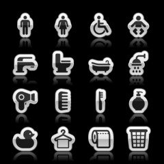 Bathroom icons, vector illustration
