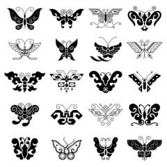 Black butterflies isolated on white background