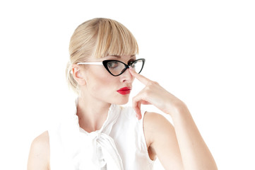 Portrait of smart businesswoman wearing glasses on white backgro