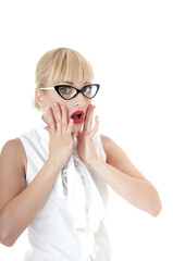 Crazy business woman in stress situation over white background.