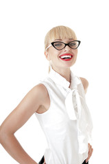 Smiling  blonde business women wearing glasses over white backgr