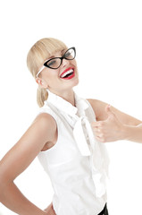 Smiling  blonde business women  shows thumb up on  white backgro