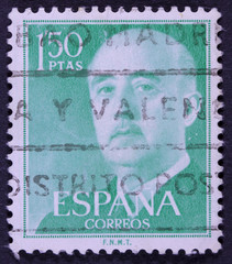 Post stamp printed in Spain shows Francisco Franco, circa 1955