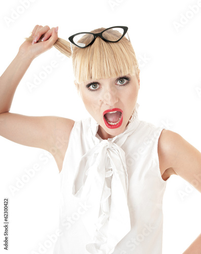 Crazy blonde business woman in stress situation over white backg