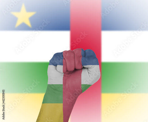 Fist wrapped in the flag of the Central African Republic