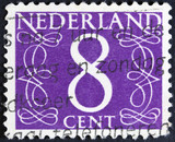 Stamp printed in the Netherlands showing it's value of 8 cent,