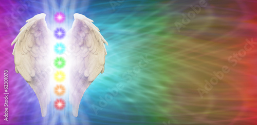 Reiki Angel Wings and Chakras Rainbow Banner
