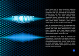 Blue sound waveform on hex grid for booklet