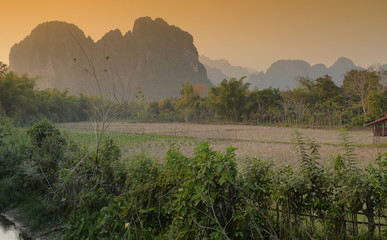 Mountains sunset, Vang Vieng, Laos
