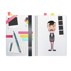 Man printed in notebook. Vector design