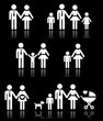 Family, parents and children, pregnant woman icons set on black