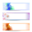 set of three vector abstract banner and flower