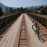 Bridge with bike, Vang Vieng, Laos
