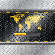 Loading industrial interface with metallic plate and world map