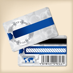 Loyalty card design with blue ribbon