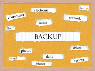 Backup Corkboard Word Concept