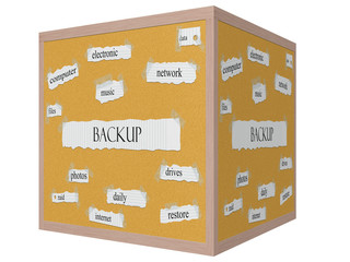 Backup 3D cube Corkboard Word Concept