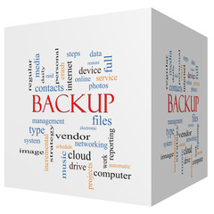 Backup 3D cube Word Cloud Concept