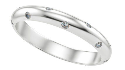 render of a ring with diamonds, isolated on white