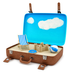 render of an open retro suitcase with a beach