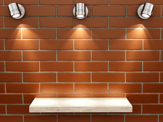 render of an empty shelf on a brick wall