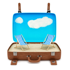 render of an open retro suitcase with 2 deckchairs