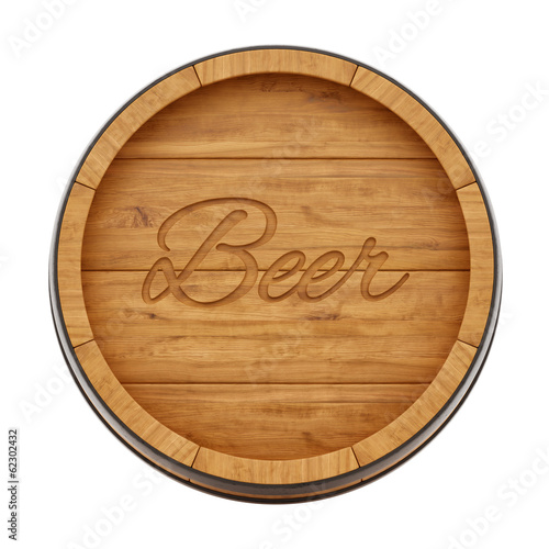 render of a beer barrel from top view, isolated on white