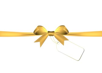 Golden bow with golden ribbon isolated on a white background
