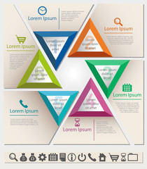 Business infographic chart template with six triangle sections