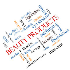 Beauty Products Word Cloud Concept Angled