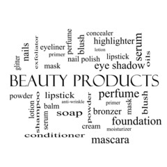 Beauty Products Word Cloud Concept in black and white